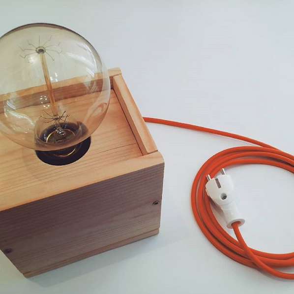 Wooden Edison Lamp with voice control